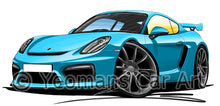 Load image into Gallery viewer, Porsche Cayman GT4 - Caricature Car Art Print