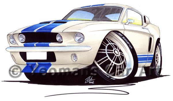 Ford / Shelby Mustang (1967) GT500 - Caricature Car Art Print