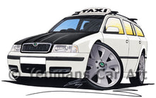 Load image into Gallery viewer, Skoda Octavia 1 Estate Taxi - Caricature Car Art Print