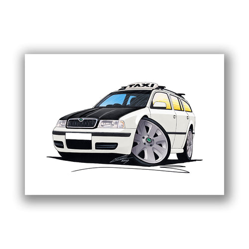 Skoda Octavia 1 Estate Taxi - Caricature Car Art Print