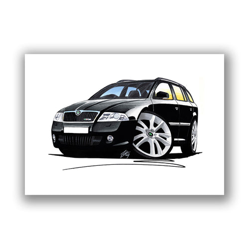 Skoda Octavia 2 vRS Estate - Caricature Car Art Print