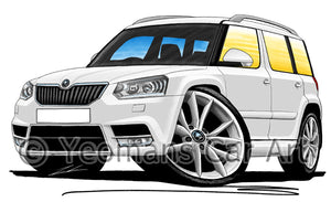 Skoda Yeti (Facelift) - Caricature Car Art Print