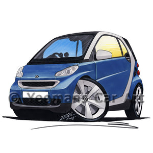 Smart Fortwo (Mk2) (Silver Tridion) - Caricature Car Art Print