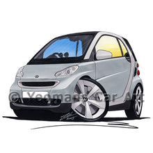 Load image into Gallery viewer, Smart Fortwo (Mk2) (Silver Tridion) - Caricature Car Art Print