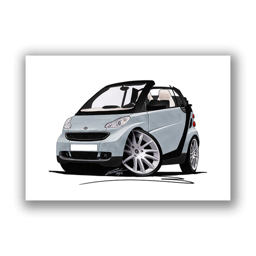 Smart Fortwo (Mk2) Cabriolet (Black Tridion) - Caricature Car Art Print