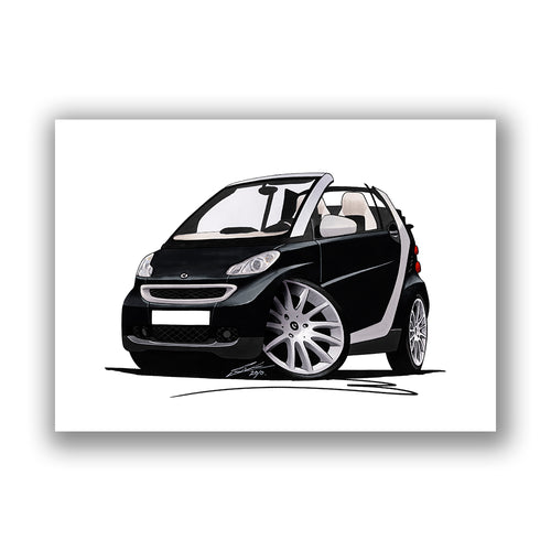 Smart Fortwo (Mk2) Cabriolet (Silver Tridion) - Caricature Car Art Print