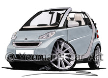 Load image into Gallery viewer, Smart Fortwo (Mk2) Cabriolet (Silver Tridion) - Caricature Car Art Print