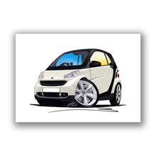 Load image into Gallery viewer, Smart Fortwo (Mk2) (Black Tridion) - Caricature Car Art Print