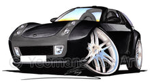 Load image into Gallery viewer, Smart Roadster-Coupe Brabus (Black Tridion) - Caricature Car Art Print
