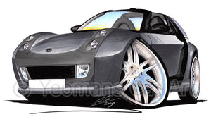 Smart Roadster-Coupe Brabus (Black Tridion) - Caricature Car Art Print