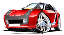 Load image into Gallery viewer, Smart Roadster-Coupe Brabus (Silver Tridion) - Caricature Car Art Print