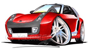 Smart Roadster-Coupe Brabus (Silver Tridion) - Caricature Car Art Print