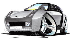 Smart Roadster-Coupe (Black Tridion) - Caricature Car Art Print