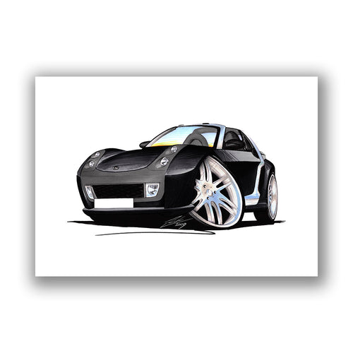 Smart Roadster Brabus (Silver Tridion) - Caricature Car Art Print