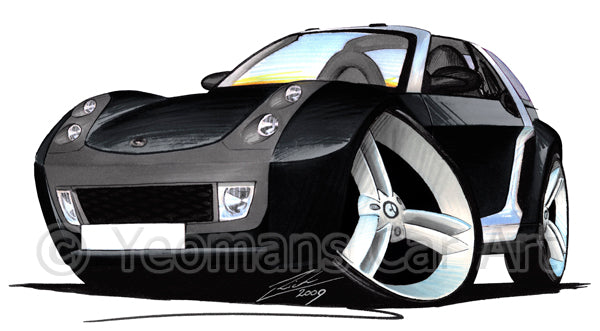 Smart Roadster-Coupe (Silver Tridion) - Caricature Car Art Print