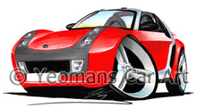 Load image into Gallery viewer, Smart Roadster (Silver Tridion) - Caricature Car Art Print