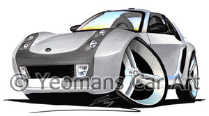 Smart Roadster (Silver Tridion) - Caricature Car Art Print