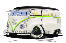 Load image into Gallery viewer, VW Split-Screen (11RB) Camper Van - Caricature Car Art Print