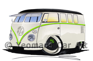 VW Split-Screen (11RB) Camper Van - Caricature Car Art Print