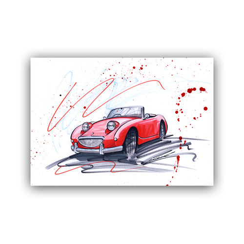 'Sprite' - Original Classic Car Drawing
