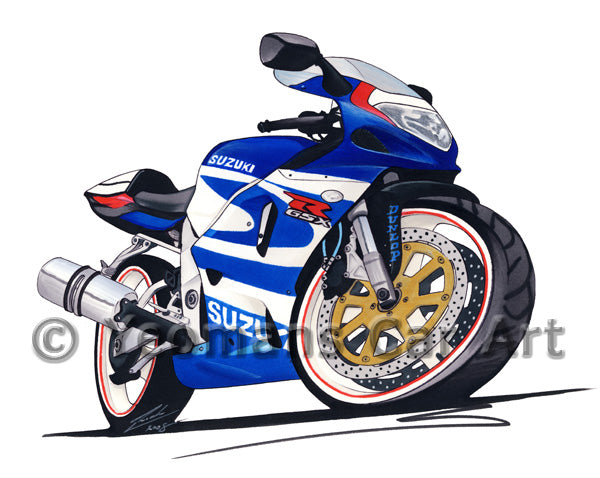 Suzuki GSX-R750 - Caricature Bike Art Coffee Mug