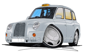 London TX4 Taxi - Caricature Car Art Print