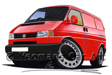 Load image into Gallery viewer, VW T4 Transporter Van (Grey Bumper) - Caricature Car Art Print