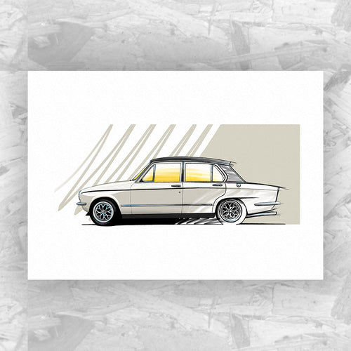 Triumph Dolomite Sprint (White) - Roadside Icons Art Print