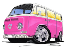 Load image into Gallery viewer, VW Bay Window Camper Van (Yeo-A) - Caricature Car Art Print
