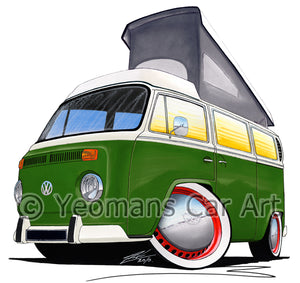 VW Bay Window Camper Van (Yeo-G) - Caricature Car Art Print