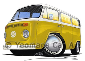 VW Late Bay Window Camper Van - Caricature Car Art Coffee Mug