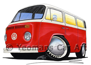 VW Late Bay Window Camper Van - Caricature Car Art Print
