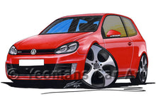 Load image into Gallery viewer, Volkswagen Golf (Mk6) GTi (3dr) - Caricature Car Art Print