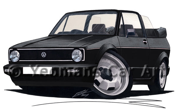 Volkswagen Golf (Mk1) Cabriolet - Caricature Car Art Print