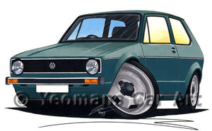Volkswagen Golf (Mk1) - Caricature Car Art Coffee Mug