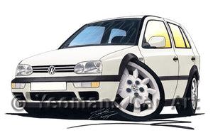 Volkswagen Golf (Mk3) (5dr) - Caricature Car Art Print