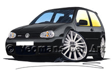 Load image into Gallery viewer, Volkswagen Golf (Mk4) R32 (3dr) - Caricature Car Art Print