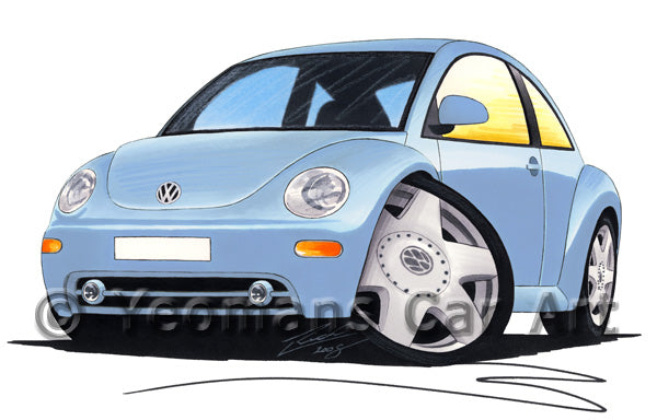 Volkswagen New Beetle - Caricature Car Art Print