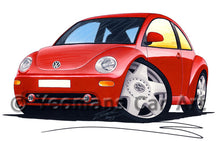 Load image into Gallery viewer, Volkswagen New Beetle - Caricature Car Art Print