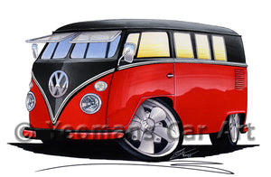 VW Split-Screen (11E) Camper Van - Caricature Car Art Print