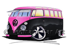 Load image into Gallery viewer, VW Split-Screen (23C) Camper Van - Caricature Car Art Print