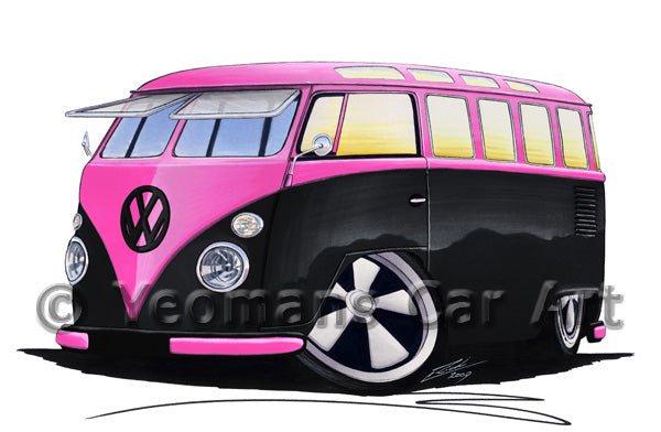 VW Split-Screen (23C) Camper Van - Caricature Car Art Print