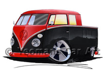 Load image into Gallery viewer, VW Split-Screen Crew Cab Pick-Up (Yeo-A) - Caricature Car Art Print