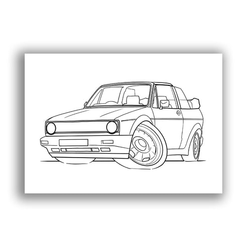 Volkswagen Golf (Mk1) Cabriolet - Free Colouring Sheet