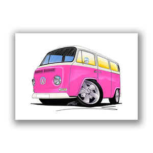 VW Bay Window Camper Van (Yeo-A) - Caricature Car Art Print