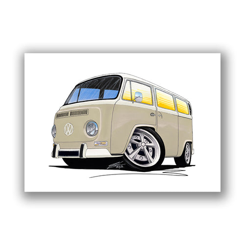 VW Bay Window Camper Van (Yeo-B) - Caricature Car Art Print