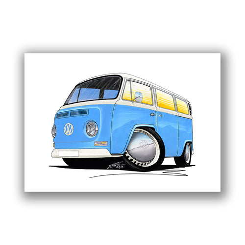 VW Early Bay Window Camper Van - Caricature Car Art Print