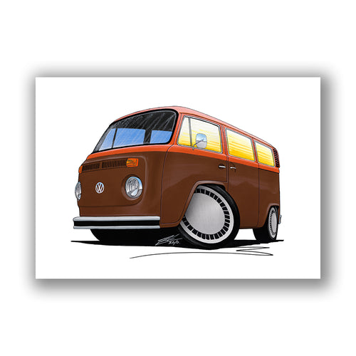 VW Bay Window Camper Van (Yeo-F) - Caricature Car Art Print