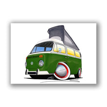 Load image into Gallery viewer, VW Bay Window Camper Van (Yeo-G) - Caricature Car Art Print
