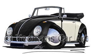 Volkswagen Beetle Cabriolet (2-Tone) - Caricature Car Art Coffee Mug